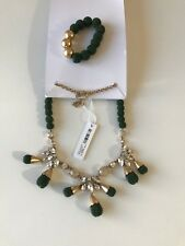 ANN TAYLOR GREEN AND GOLD NECKLACE, BRACELET NWT RET.109.00