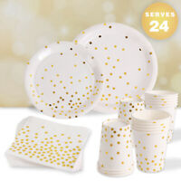 96pcs Paper Plate Cup Tableware Kit Wedding Baby Shower Birthday Party Supplies