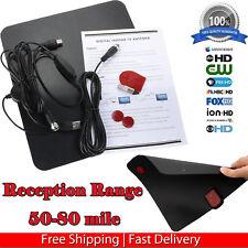 80 Miles Range Flat HD Digital Indoor Amplified TV Antenna with Amplifier HDTV