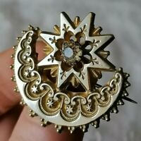 Antique Moon Star Gilt Paste Crescent Victorian Sweetheart Repousse Pin Brooch