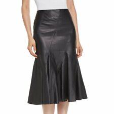 Women's Genuine Lambskin Leather Black Skirt Soft Below Knee Flare Slim Skirt