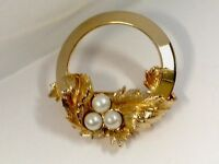 Vintage Gold Tone & Faux Pearl Sarah Coventry Brooch Pin