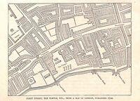 Genuine.Fleet Street.The Temple.Legal London.Antique print.London.City of London