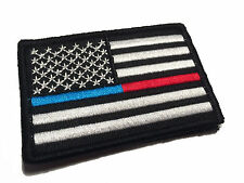 "2x3"" US FLAG THIN BLUE and RED LINE POLICE FIREFIGHTER USA FLAG PATCH"