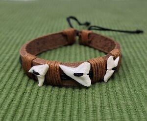 Real Shark Tooth Bracelet Shark Teeth Bracelet Adjustable Leather Bracelet