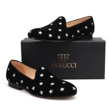 Handmade FERUCCI Men Black Velvet Slippers loafers with  Embroidered Stars