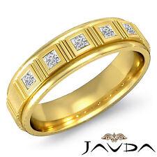 Princess Bezel Diamond Men 5Stone Half Wedding Solid Band 14k Yellow Gold 0.25Ct