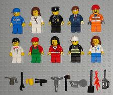 Lego MINIFIGURES Lot 10 People Police Girl Fireman Community Helpers Minifigs