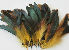 "100+ pcs.(16g) 6-8"" half bronze gold yellow schlappen coque rooster feathers"