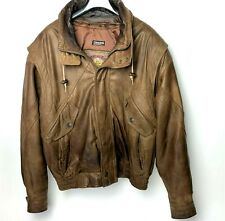 Adventure Bound Mens Medium Leather Jacket Brown Thinsulate 3M w Removeable Vest
