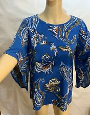 NWT Chico's OPULENT PAISLEY FLARE-SLEEVE TOP 3/4 Sleeve Blue Blouse Shirt Plus