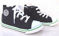 NEW BOYS GIRLS LEATHER INSOLES BLACK NAVY ZIP TRAINERS CANVAS HIGH TOP SHOES UK