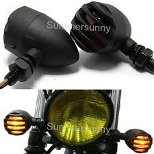 Black Motorcycle Turn Signals Mini Bullet Blinker Indicator Lights Amber Vintag