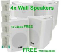 "4X WHITE 8"" STEREO 180W WALL BOOKSHELF SPEAKERS BC8-W + 4X CABLES 100.910UK B2"
