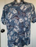 Reyn Spooner Aloha Hawaii Hawaiian Island Shirt Medium M Rayon Blue