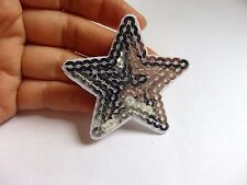 8 silver star patches sequin sequined applique patch motif iron on sew on UK
