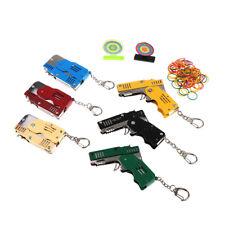 Mini Folding Bursts Rubber Band Gun Keychain Metal Outdoor Shooting Toys ORM Fn