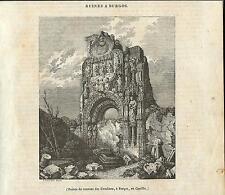 Stampa antica BURGOS Convento Orsoline Spagna 1840 Grabado Antiguo Old Print