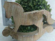 Cavallo a dondolo decorazione Elegante MISERA ANNATA di legno marrone