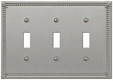 IMPERIAL BEAD BRUSHED NICKEL 3 TOGGLE SWITCHPLATE WALLPLATE 74TTTBN AMERELLE