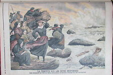 BRETAGNE TEMPETE ILE DE SEIN BATEAU FEMMES MARINS  GRAVURE PETIT JOURNAL 1906
