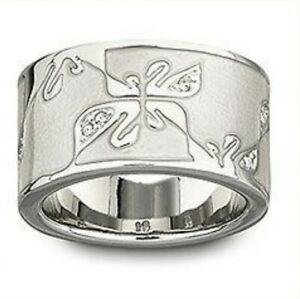 Swarovski Signature Swan Sterling Silver Enamel Ring Size 5.5- 6/52 $100 No box