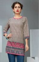 Ladies Indian Bollywood Printed Designer Wear Short Kurta Kurti Tunic