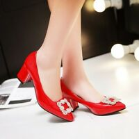 Fashion Womens Ladies Casual Mid heel Shoes Blook  Pointed Toe  Pumps AU Size