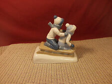 "Porcelana De Cuernavaca Figurine Boy Girl Sled Ride 6"" L x 5 3/4"" T"