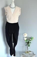 RIVER ISLAND Cream & black ruched cuffed slightly cropped leg jumpsuit UK 8