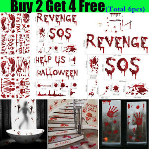 Halloween Stickers Bloody Blood Hand Window Clings Glass Party Prop Decor Decals