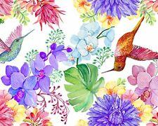 100% Cotton Digital Fabric Hummingbirds Tropical Paradise Floral 150cm Wide