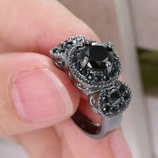 2016 Fashion Gift 14KT Black Gold Filled Black Obsidian Wedding Ring size 6
