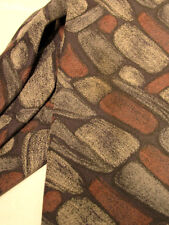 Setalana DOMINO TIE Silk -Pebbles Rocks Brickwall Gray Brown Black Mason  EUC