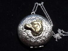 ANTIQUE SILVER FOX  LOCKET  LARGE LOCKET