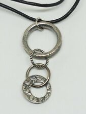 SILPADA N1821 Leather Cord Necklace  Sterling Textured Links Pendant