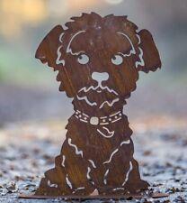 Hund Romeo sitzend auf Bodenplatte 50 x 34 cm Hund Garten Deko Rost Geschenk