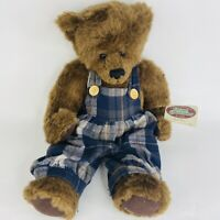 Ganz Cottage Collectibles Root Bear Artist Terry Skorstad Jointed Plaid Overalls
