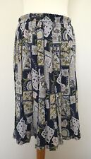 Vintage Unbranded Pleated Blue Green Floral Chain Geometric Print Skirt Size 14
