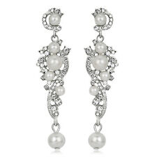 White Gold Plated Beautiful Pearls Rhinestones Bridal Party Lady Dangle Earrings