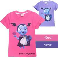 Cute Kids Girl Vampirina Summer Cotton Short Sleeve T-shirt TOPS Costume