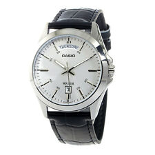 Casio MTP1370L-7A Men's Silver Dial Black Leather Band Steel Day Date 50M Watch