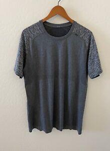 LULULEMON METAL VENT TECH SS Short Sleeve Shirt Tee-Heathered Gray Black Sz L