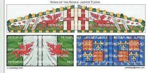 28mm Medieval Wars of the Roses Paper Flags Jasper Tudor, Lancastrian