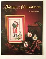 Father Christmas Counted Cross Stitch patterns Bette Ashley Santa + 3 ornaments