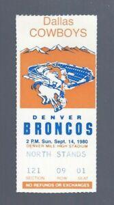 VINTAGE 1980 NFL DALLAS COWBOYS @ DENVER BRONCOS FOOTBALL TICKET STUB