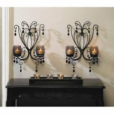 Set of 2: Sultry Elegance Black Metal Candle Holder Smoked Glass Wall Sconce