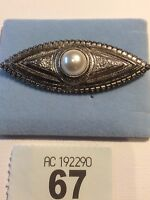 AGIL Vintage Style Ornate Brooch Silver Tone With Faux Pearl