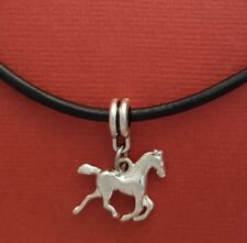 Horse Necklace Leather Silver Plated Pony Show u love horses New Gift Jewellery