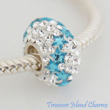 BLUE STARS ON CLEAR CZ CRYSTAL .925 Sterling Silver EUROPEAN EURO Bead Charm
